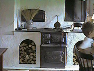 The woodburner in the kitchen of the big house again
